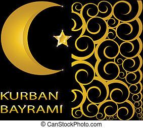 musulman, bayrami, kurban, étoile, or