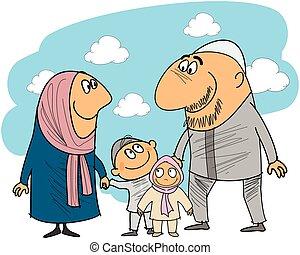 musulman, bon, famille