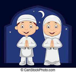 musulman, dessin animé, gosse