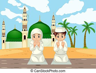 musulman, fond, traditionnel, prier, mosquée, girl, habillement, garçon, arabe