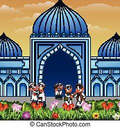musulman, gens, mains, mosquée, autre, chaque, devant, secousse