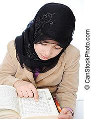 musulman, girl, apprentissage, nouveau école