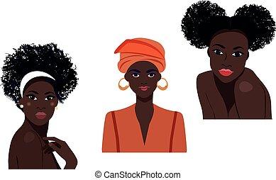 musulman, nationalités, european., différent, cultures., femmes, illustrations, américain africain
