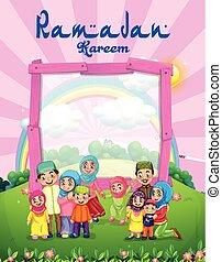 musulman, parc, famille, fond, gabarit