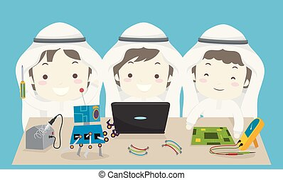 musulman, robotique, illustration, garçons, gosses, équipe