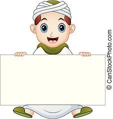 musulman, signe, tenue, vide, gosse, heureux