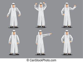 musulmano, carattere, illustrazione, islamico, vettore, costume, bianco, cartone animato, uomo