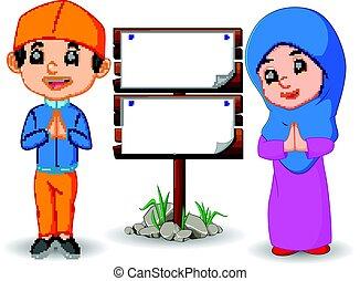 musulmano, cartone animato, capretto