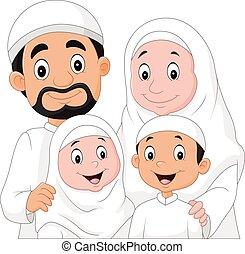 musulmano, cartone animato, famiglia