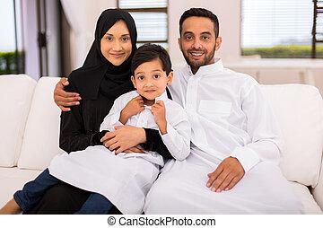 musulmano, divano, famiglia, seduta