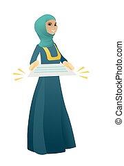 musulmano, donna, contract., affari, presa a terra
