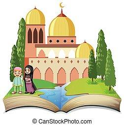 musulmano, libro aperto, bambini