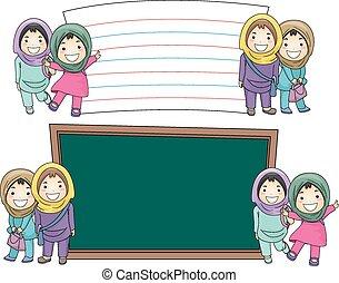 musulmano, ragazze, educazione, assi