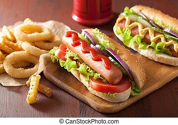musztarda, warzywa, smaży, francuski, ketchup, hotdog