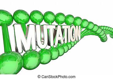 mutación, genes, adn, genético, cambio, 3d, ilustración