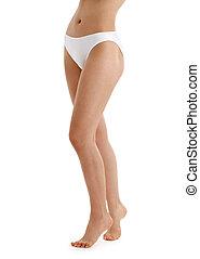 mutandine, bikini, gambe, bianco, lungo