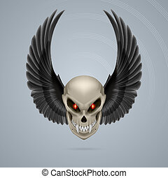 Mutant skull - Terrifying mutant skull with long fangs and...