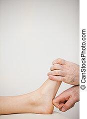 mutatóujj, övé, tapogat, pedikűrös, lábfej, használ,...