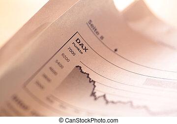 mutatóujj, esés, részvény