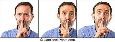 mutatóujj, fogalom, lenni, életkor, ajkak, quiet., középső, titkos, closeup, tapogat, kérdez, ember, csend, jelentékeny