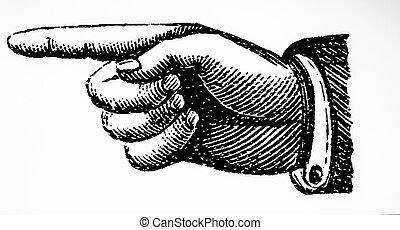 mutat, aláír, szüret, kéz, retro