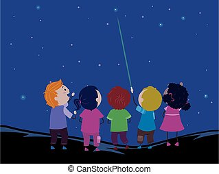 mutat, gyerekek, ábra, stickman, lézer, csillaggal díszít