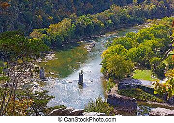 mutat, nemzeti, kilátás, shenandoah, potomac, történelmi, találkozik, komp, folyók, hol, harpers, park.