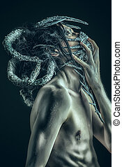 mutation - Frightening mythical creature male. Alien...