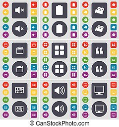 Mute, Battery, Film camera, Calendar, Apps, Quotation mark, Contact, Sound, Monitor icon symbol. A large set of flat, colored buttons for your design. Vector