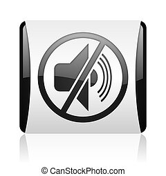 mute black and white square web glossy icon