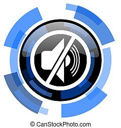 mute black blue glossy web icon