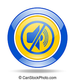 mute blue and yellow web glossy round icon