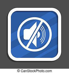 Mute blue flat design square web icon