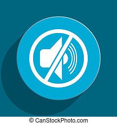 mute blue flat web icon