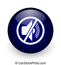 Mute blue glossy ball web icon on white background. Round 3d render button.