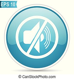 Mute blue glossy round vector icon in eps 10. Editable modern design internet button on white background.
