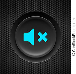 Mute button. - Black button with blue mute sign on carbon...
