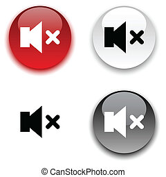Mute button. - Mute glossy round vector buttons.