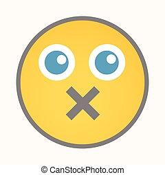Mute - Cartoon Smiley Vector Face