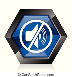 Mute dark blue glossy hexagon geometric diamond vector web icon with reflection on white background. Modern design hexagonal internet button.