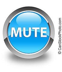 Mute glossy cyan blue round button