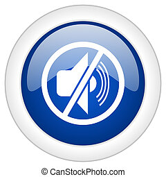 mute icon, circle blue glossy internet button, web and mobile app illustration