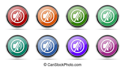 Mute icons, set of round glossy web buttons with silver metallic chrome borders isolated on white background in 8 options