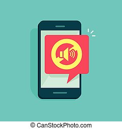 Mute mode sign for mobile phone vector illustration, no sound sign, flat cartoon style volume off for smartphone, cellphone silence zone symbol isolated