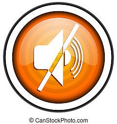 mute orange glossy icon isolated on white background