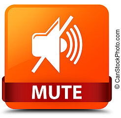 Mute orange square button red ribbon in middle