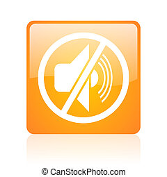 mute orange square glossy web icon
