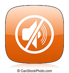 mute orange square web design glossy icon