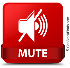 Mute red square button red ribbon in middle