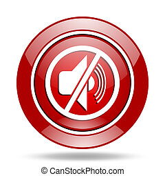 mute red web glossy round icon